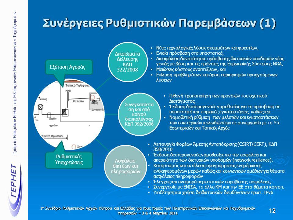 Συνέργειες Ρυθμιστικών Παρεμβάσεων (1) Δικαιώματα Διέλευσης ΚΔΠ 322/2008 Συνεγκατάστα ση και από κοινού διευκολύνσεις ΚΔΠ 392/2006 Ασφάλεια δικτύων και πληροφοριών 12 • Νέες τεχνολογικές λύσεις σκαμμάτων και φρεατίων, • Ενιαία πρόσβαση στα υποστατικά, • Διασφάλιση δυνατότητας πρόσβασης δικτυακών υποδομών νέας γενιάς με βάση και τις πρόνοιες της Ευρωπαϊκής Σύστασης NGA, • Μειώσεις κόστους αναπτύξεων, και • Επίλυση προβλημάτων και άρση περιορισμών προηγούμενων λύσεων • Πιθανή τροποποίηση των προνοιών του σχετικού Διατάγματος, • Έκδοση δευτερογενούς νομοθεσίας για τη πρόσβαση σε υποστατικά και κτιριακές εγκαταστάσεις, καθώς και • Νομοθετική ρύθμιση των μελετών και εγκαταστάσεων των εσωτερικών καλωδιώσεων σε συνεργασία με το Υπ.