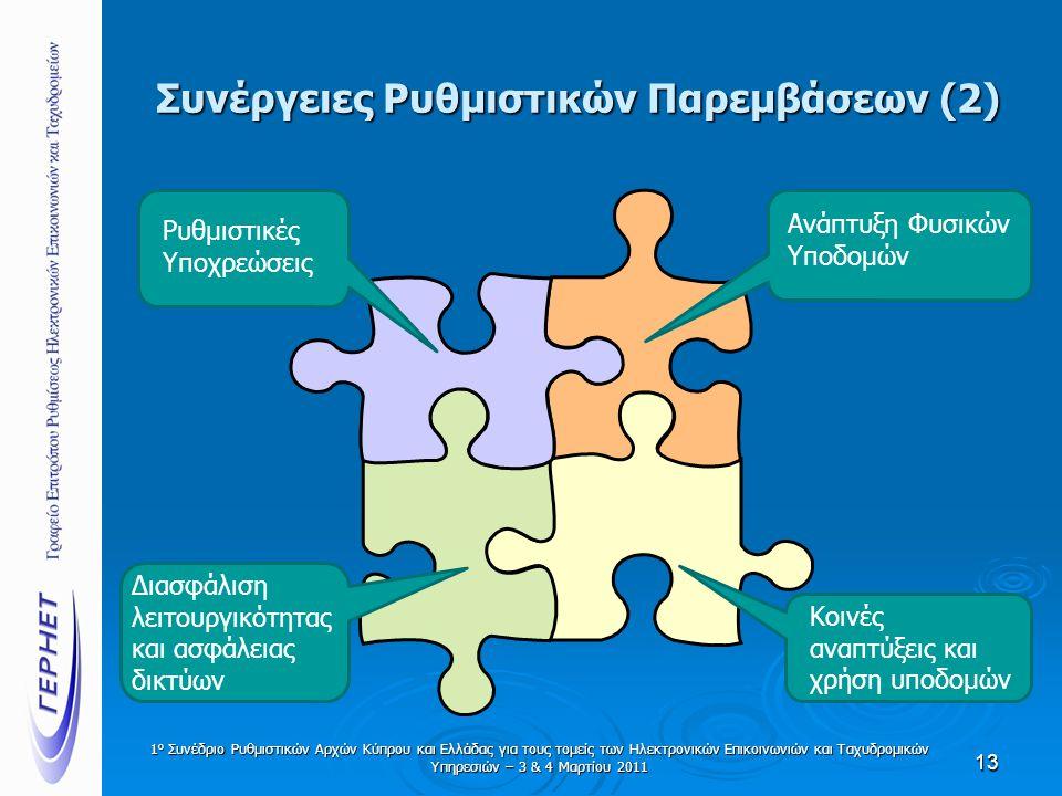 Συνέργειες Ρυθμιστικών Παρεμβάσεων (2) 13 Ρυθμιστικές Υποχρεώσεις Ανάπτυξη Φυσικών Υποδομών Κοινές αναπτύξεις και χρήση υποδομών Διασφάλιση λειτουργικ