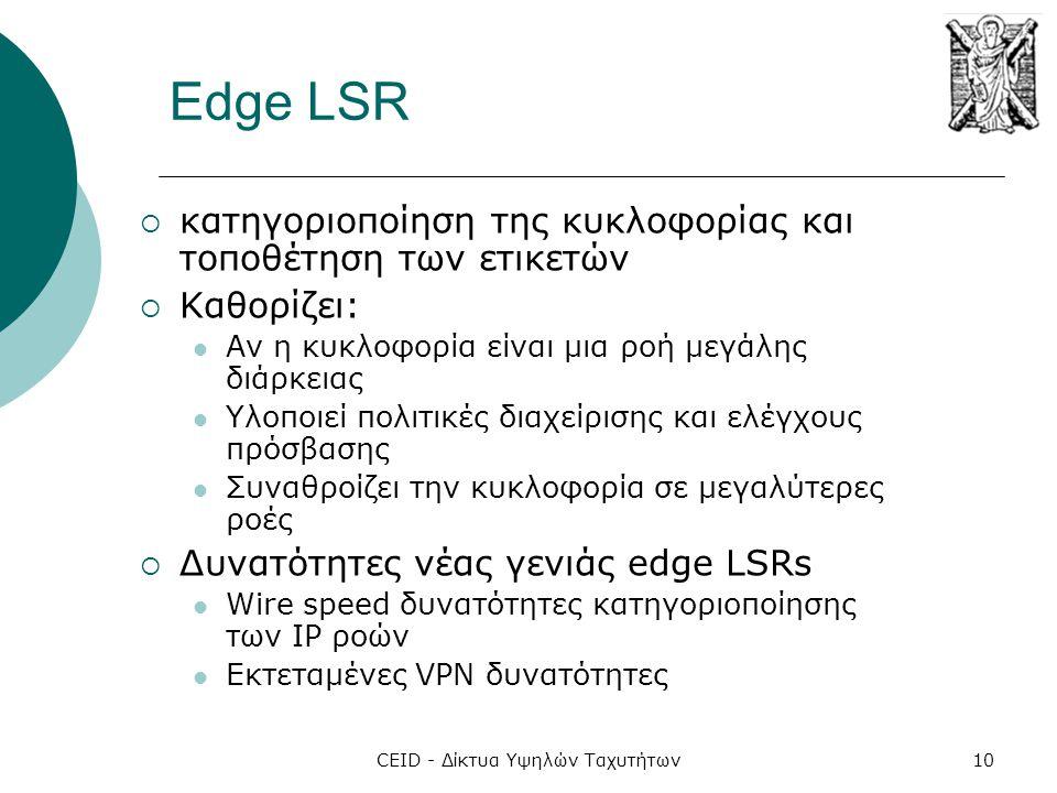 CEID - Δίκτυα Υψηλών Ταχυτήτων10 Edge LSR  κατηγοριοποίηση της κυκλοφορίας και τοποθέτηση των ετικετών  Καθορίζει:  Αν η κυκλοφορία είναι μια ροή μ