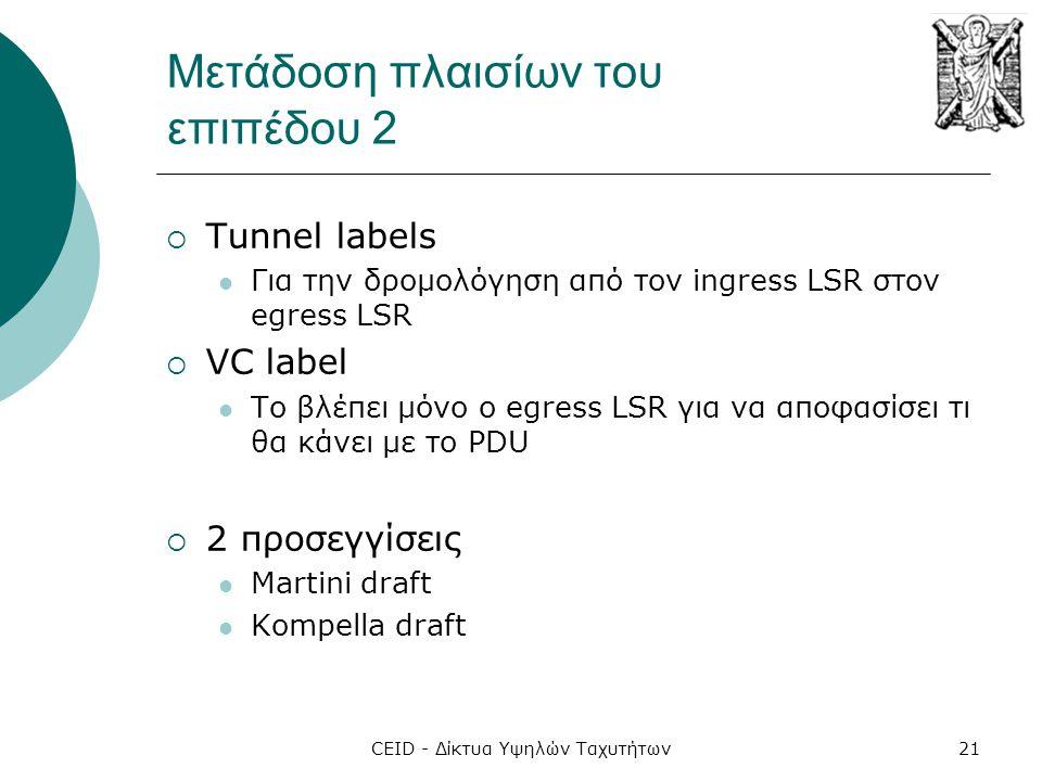 CEID - Δίκτυα Υψηλών Ταχυτήτων21 Μετάδοση πλαισίων του επιπέδου 2  Tunnel labels  Για την δρομολόγηση από τον ingress LSR στον egress LSR  VC label