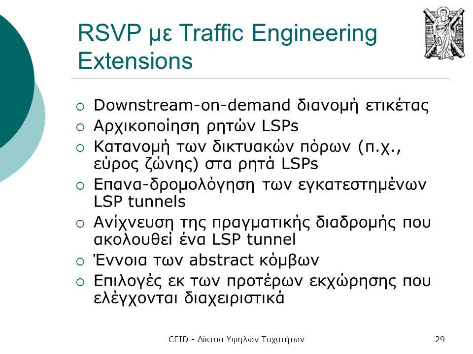 CEID - Δίκτυα Υψηλών Ταχυτήτων29 RSVP με Traffic Engineering Extensions  Downstream-on-demand διανομή ετικέτας  Αρχικοποίηση ρητών LSPs  Κατανομή τ