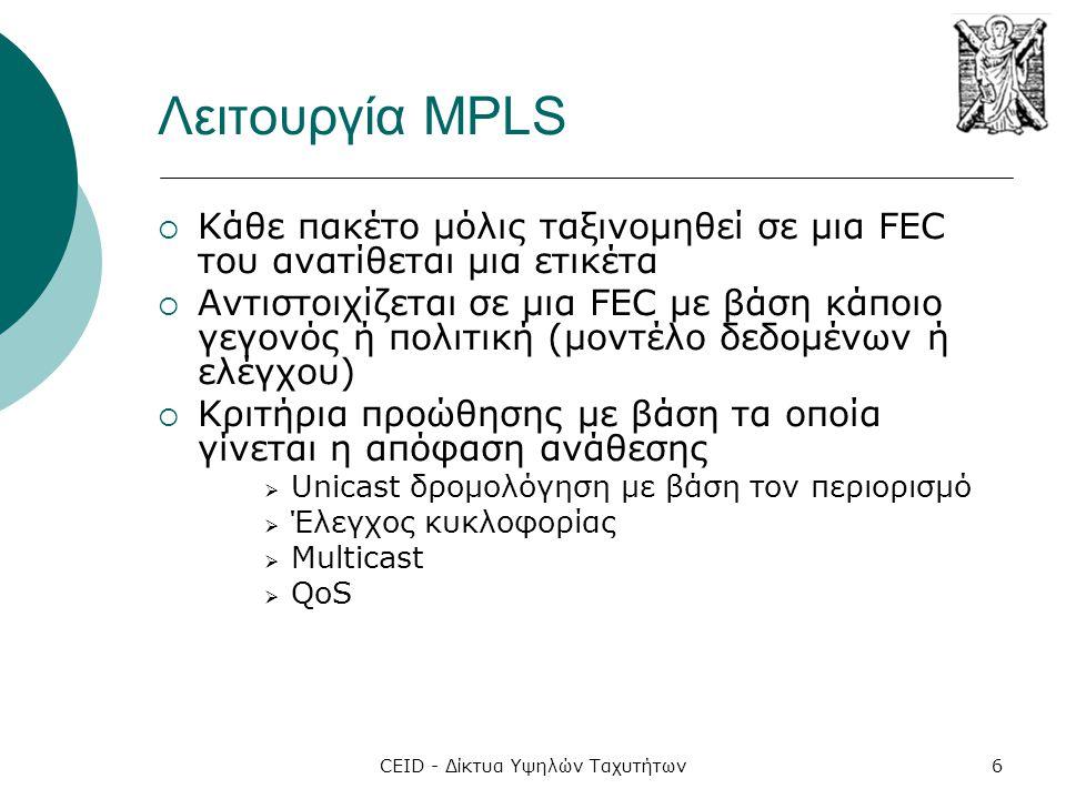 CEID - Δίκτυα Υψηλών Ταχυτήτων6 Λειτουργία MPLS  Κάθε πακέτο μόλις ταξινομηθεί σε μια FEC του ανατίθεται μια ετικέτα  Αντιστοιχίζεται σε μια FEC με
