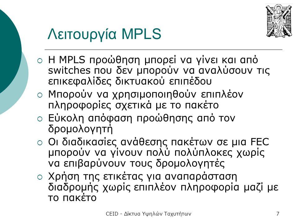 CEID - Δίκτυα Υψηλών Ταχυτήτων7 Λειτουργία MPLS  H MPLS προώθηση μπορεί να γίνει και από switches που δεν μπορούν να αναλύσουν τις επικεφαλίδες δικτυ