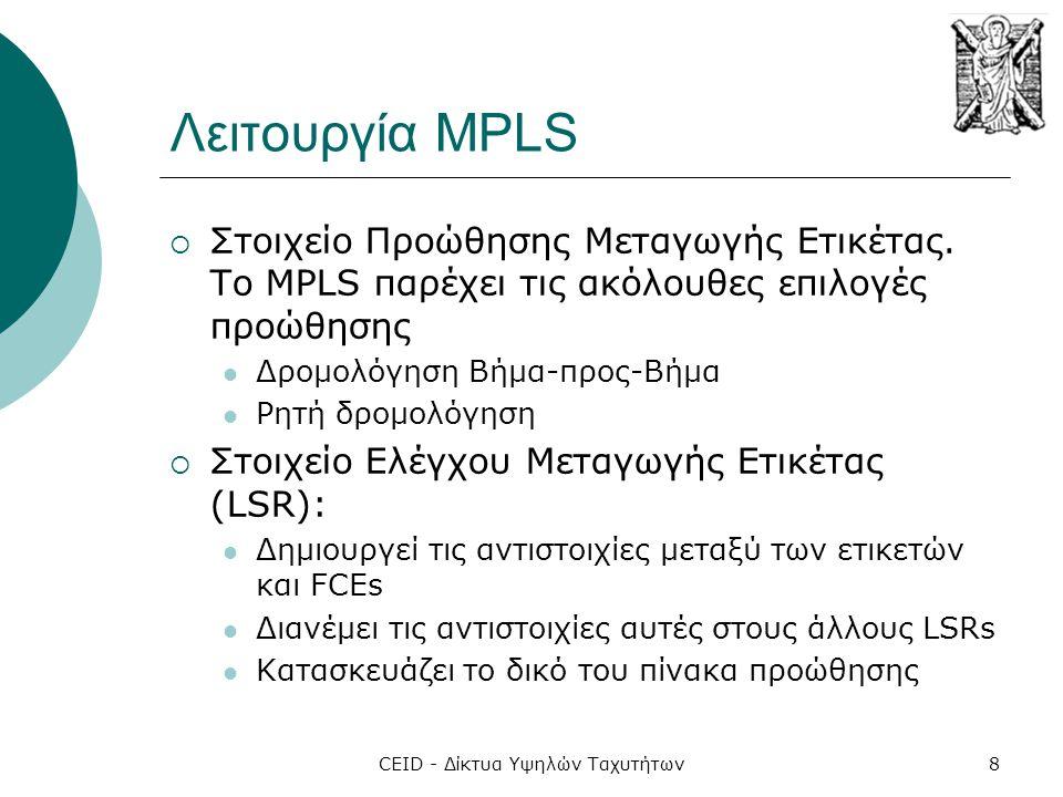 CEID - Δίκτυα Υψηλών Ταχυτήτων8 Λειτουργία MPLS  Στοιχείο Προώθησης Μεταγωγής Ετικέτας. Το MPLS παρέχει τις ακόλουθες επιλογές προώθησης  Δρομολόγησ