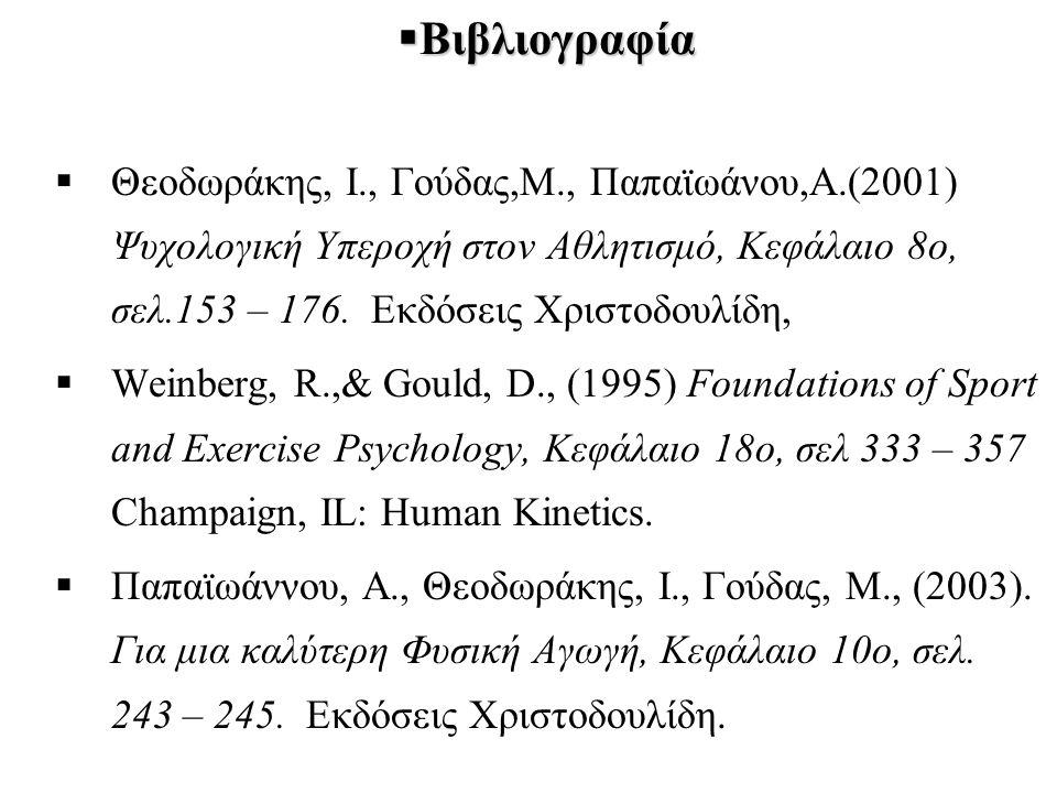  Βιβλιογραφία  Θεοδωράκης, Ι., Γούδας,Μ., Παπαϊωάνου,Α.(2001) Ψυχολογική Υπεροχή στον Αθλητισμό, Κεφάλαιο 8ο, σελ.153 – 176.