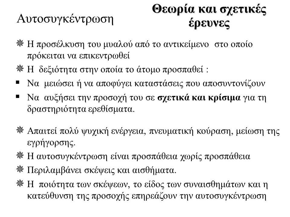 Θεωρία και σχετικές έρευνες Αυτοσυγκέντρωση Παραδείγματα σωστής και μη σωστής αυτοσυγκέντρωσης (Maynard,1998)  Διευκολύνουν •Θετικός •Πρόκληση  Δυσκολεύουν •Τι θα γίνει αν χάσω •Πολλές πληροφορίες  Ευχάριστα •Ήρεμα •Έλεγχος •Ευχαρίστηση από την προσπάθεια  Δυσάρεστα •Ένταση •Κούραση •Χωρίς παρακίνηση  Σωστή •Εδώ και τώρα •Κίνηση αντιπάλων •Στο διάλειμμα οι επόμενες κινήσεις  Λάθος •Αποτέλεσμα του αγώνα •Το προηγούμενο λάθος •Ο καιρός •Στο διάλειμμα σκέψεις για το τελευταίο λάθος σκέψεις αισθήματα Εστία προσοχής