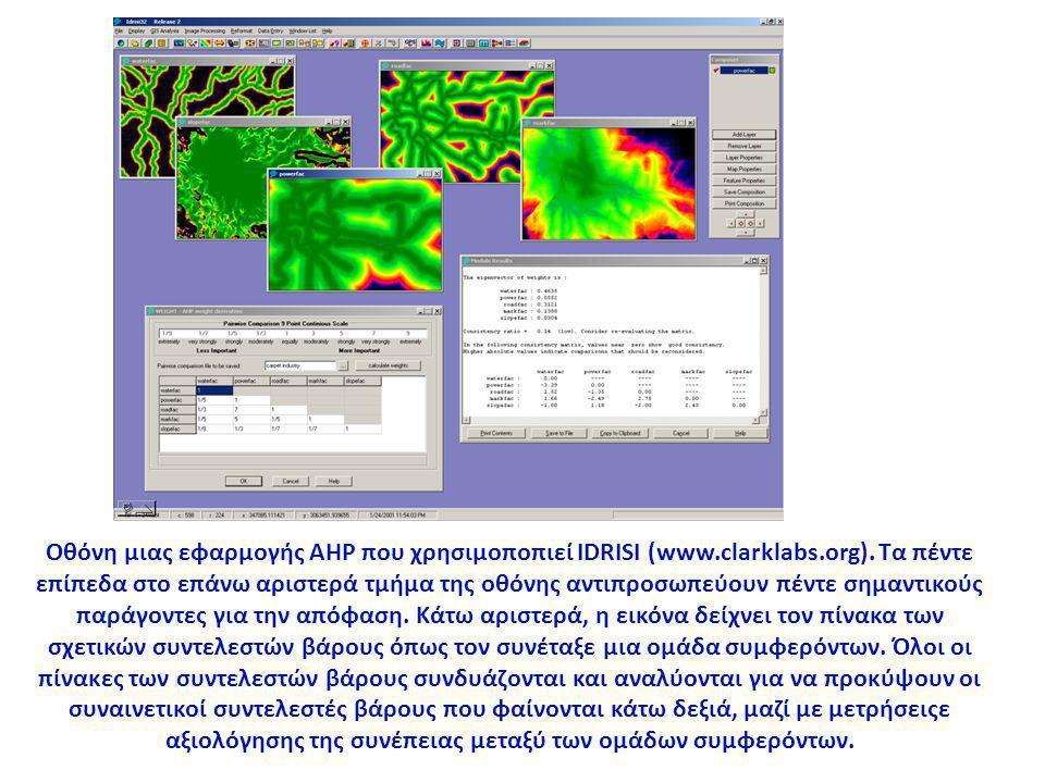 Οθόνη μιας εφαρμογής AHP που χρησιμοποπιεί IDRISI (www.clarklabs.org).