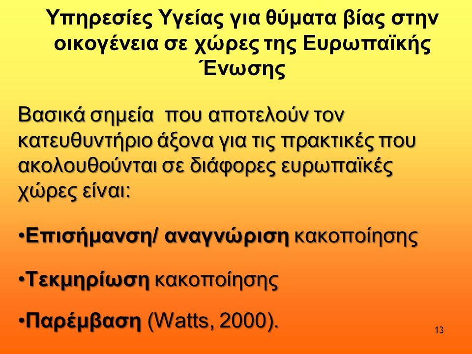 Υπηρεσίες Υγείας για θύματα βίας στην οικογένεια σε χώρες της Ευρωπαϊκής Ένωσης Βασικά σημεία που αποτελούν τον κατευθυντήριο άξονα για τις πρακτικές που ακολουθούνται σε διάφορες ευρωπαϊκές χώρες είναι: •Επισήμανση/ αναγνώριση κακοποίησης •Τεκμηρίωση κακοποίησης •Παρέμβαση (Watts, 2000).
