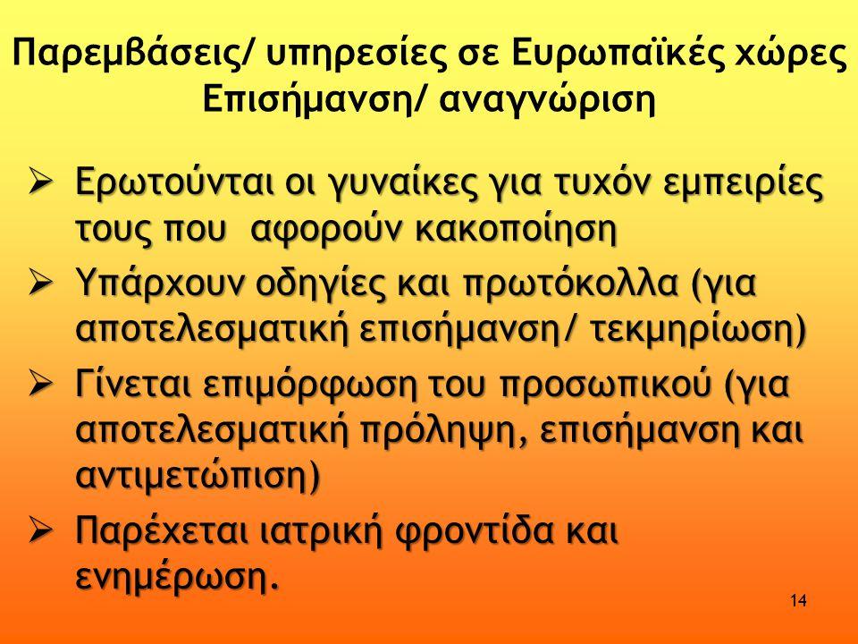 Παρεμβάσεις/ υπηρεσίες σε Ευρωπαϊκές χώρες Επισήμανση/ αναγνώριση  Ερωτούνται οι γυναίκες για τυχόν εμπειρίες τους που αφορούν κακοποίηση  Υπάρχουν οδηγίες και πρωτόκολλα (για αποτελεσματική επισήμανση/ τεκμηρίωση)  Γίνεται επιμόρφωση του προσωπικού (για αποτελεσματική πρόληψη, επισήμανση και αντιμετώπιση)  Παρέχεται ιατρική φροντίδα και ενημέρωση.