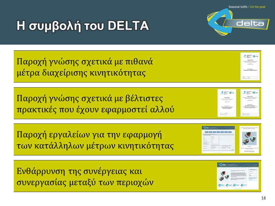 18 Παροχή γνώσης σχετικά με πιθανά μέτρα διαχείρισης κινητικότητας Παροχή γνώσης σχετικά με βέλτιστες πρακτικές που έχουν εφαρμοστεί αλλού Παροχή εργα