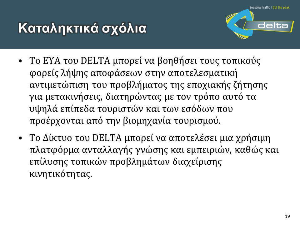 19 •Το ΕΥΑ του DELTA μπορεί να βοηθήσει τους τοπικούς φορείς λήψης αποφάσεων στην αποτελεσματική αντιμετώπιση του προβλήματος της εποχιακής ζήτησης γι