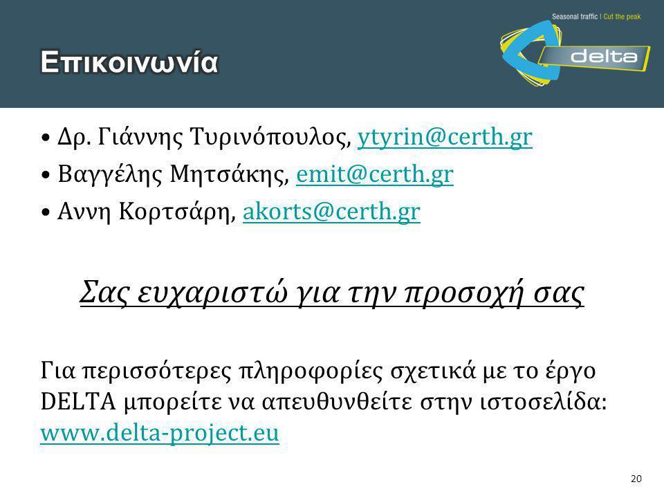 20 • Δρ. Γιάννης Τυρινόπουλος, ytyrin@certh.grytyrin@certh.gr • Βαγγέλης Μητσάκης, emit@certh.gremit@certh.gr • Αννη Κορτσάρη, akorts@certh.grakorts@c