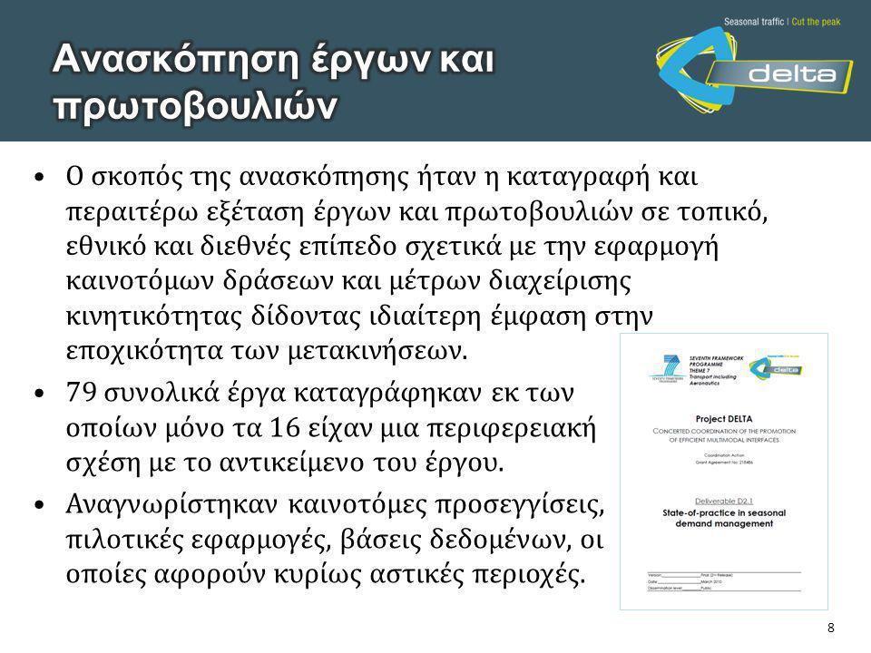 8 •Ο σκοπός της ανασκόπησης ήταν η καταγραφή και περαιτέρω εξέταση έργων και πρωτοβουλιών σε τοπικό, εθνικό και διεθνές επίπεδο σχετικά με την εφαρμογή καινοτόμων δράσεων και μέτρων διαχείρισης κινητικότητας δίδοντας ιδιαίτερη έμφαση στην εποχικότητα των μετακινήσεων.