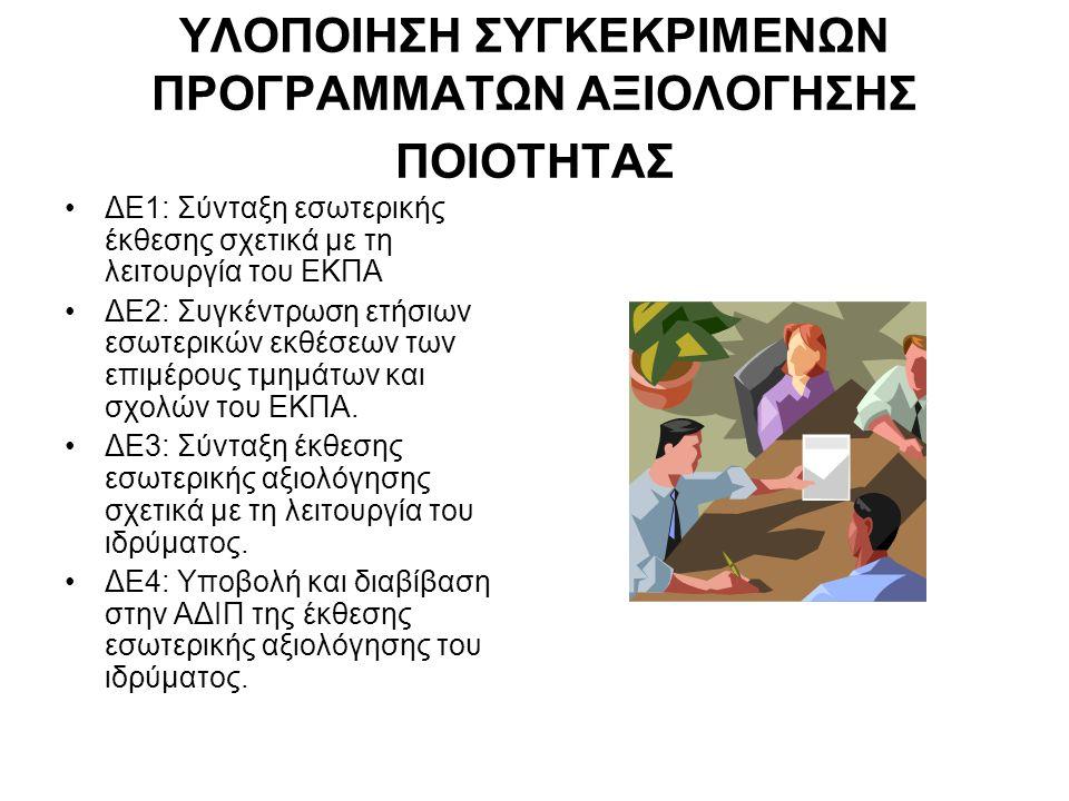 ΥΛΟΠΟΙΗΣΗ ΣΥΓΚΕΚΡΙΜΕΝΩΝ ΠΡΟΓΡΑΜΜΑΤΩΝ ΑΞΙΟΛΟΓΗΣΗΣ ΠΟΙΟΤΗΤΑΣ •ΔΕ1: Σύνταξη εσωτερικής έκθεσης σχετικά με τη λειτουργία του ΕΚΠΑ •ΔΕ2: Συγκέντρωση ετήσιων εσωτερικών εκθέσεων των επιμέρους τμημάτων και σχολών του ΕΚΠΑ.