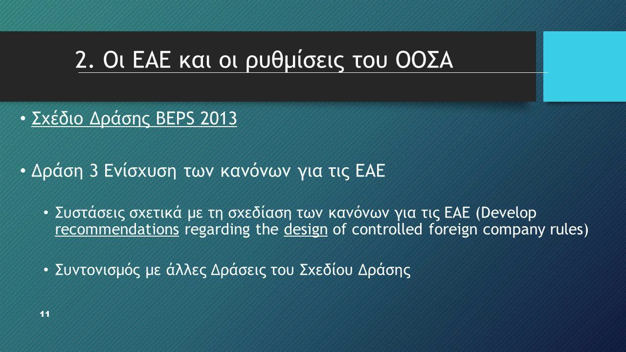 11 • Σχέδιο Δράσης BEPS 2013 • Δράση 3 Ενίσχυση των κανόνων για τις ΕΑΕ • Συστάσεις σχετικά με τη σχεδίαση των κανόνων για τις ΕΑΕ (Develop recommenda