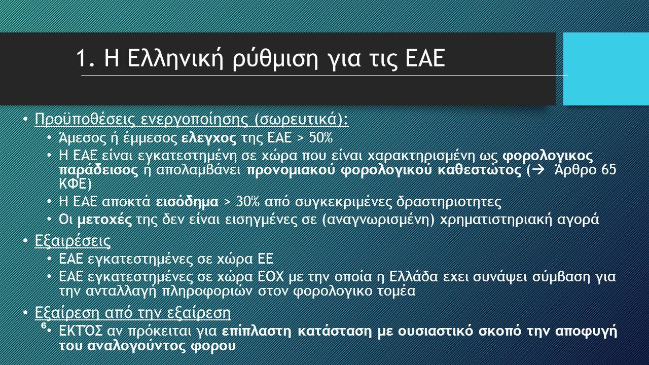 6 1. Η Ελληνική ρύθμιση για τις ΕΑΕ • Προϋποθέσεις ενεργοποίησης (σωρευτικά): • Άμεσος ή έμμεσος ελεγχος της ΕΑΕ > 50% • Η ΕΑΕ είναι εγκατεστημένη σε
