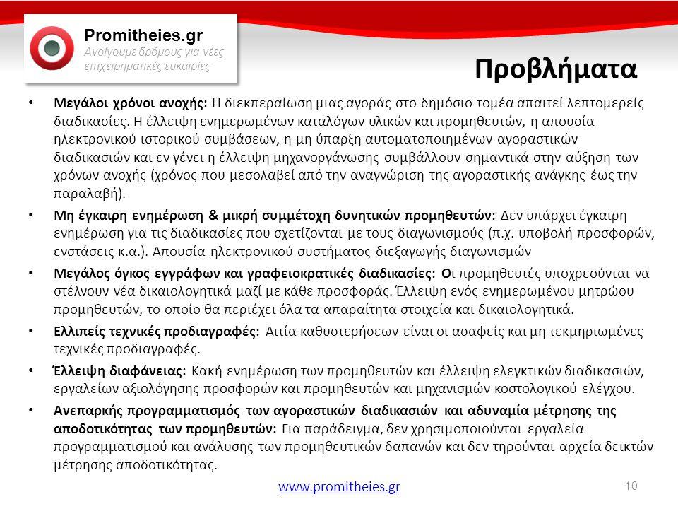 Promitheies.gr Ανοίγουμε δρόμους για νέες επιχειρηματικές ευκαιρίες www.promitheies.gr Προβλήματα • Μεγάλοι χρόνοι ανοχής: Η διεκπεραίωση μιας αγοράς