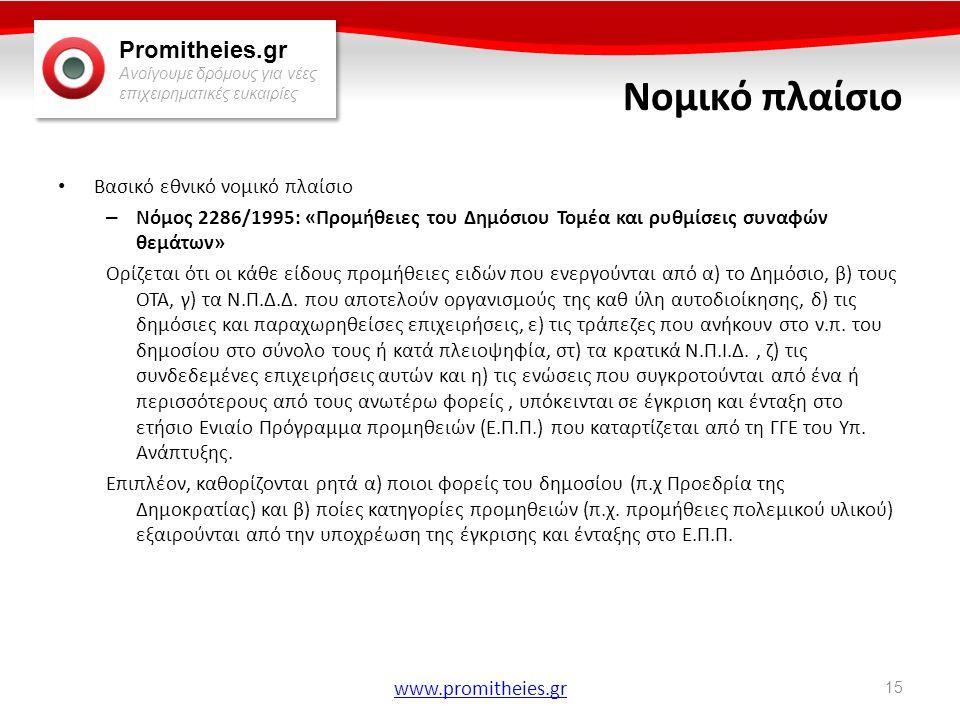 Promitheies.gr Ανοίγουμε δρόμους για νέες επιχειρηματικές ευκαιρίες www.promitheies.gr Νομικό πλαίσιο • Βασικό εθνικό νομικό πλαίσιο – Νόμος 2286/1995