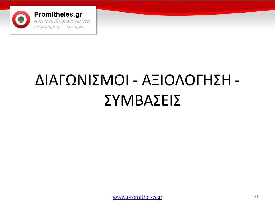 Promitheies.gr Ανοίγουμε δρόμους για νέες επιχειρηματικές ευκαιρίες www.promitheies.gr ΔΙΑΓΩΝΙΣΜΟΙ - ΑΞΙΟΛΟΓΗΣΗ - ΣΥΜΒΑΣΕΙΣ 21