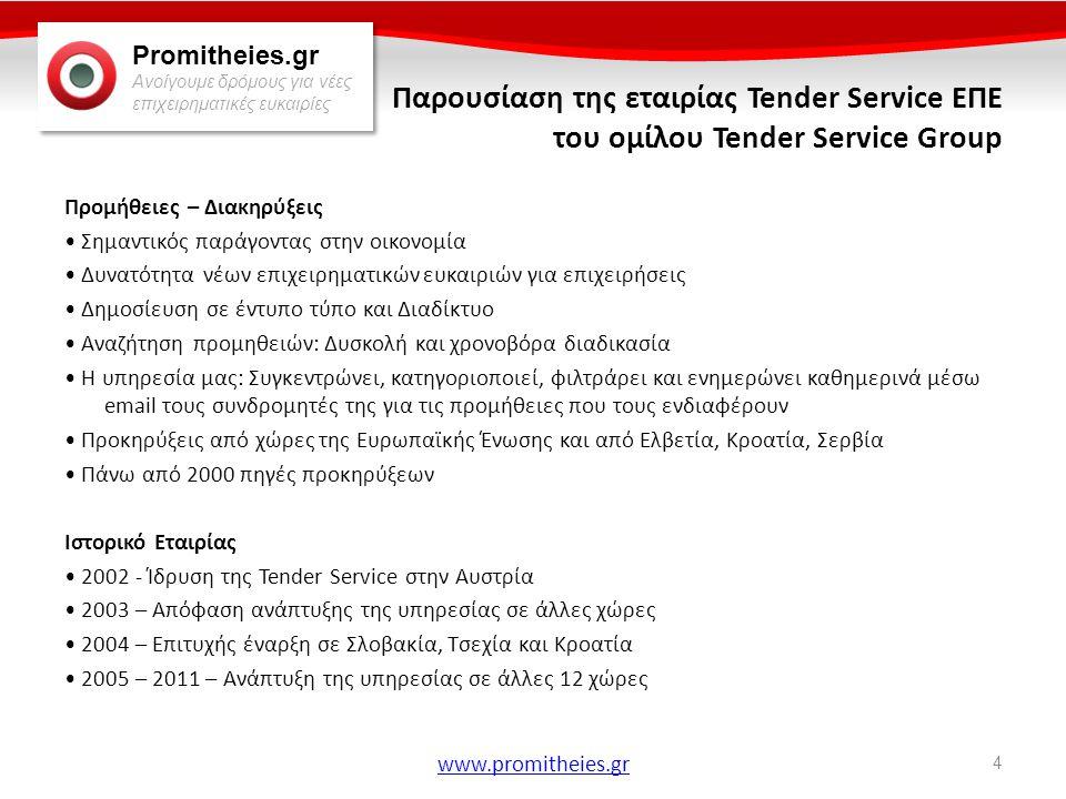 Promitheies.gr Ανοίγουμε δρόμους για νέες επιχειρηματικές ευκαιρίες www.promitheies.gr Διαγωνισμοί Ανοιχτός Διαγωνισμός • Πραγματοποιείται περίπου το 75% των κρατικών προμηθειών • Εξασφαλίζει τη μεγαλύτερη δυνατή συμμετοχή των υποψήφιων Προμηθευτών, καθώς προϋποθέτει τη δημοσίευση της πλήρους διακήρυξης και επιτρέπει σε κάθε ενδιαφερόμενο να υποβάλει προσφορά.