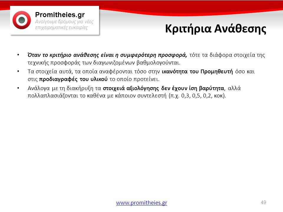 Promitheies.gr Ανοίγουμε δρόμους για νέες επιχειρηματικές ευκαιρίες www.promitheies.gr Κριτήρια Ανάθεσης • Όταν το κριτήριο ανάθεσης είναι η συμφερότε