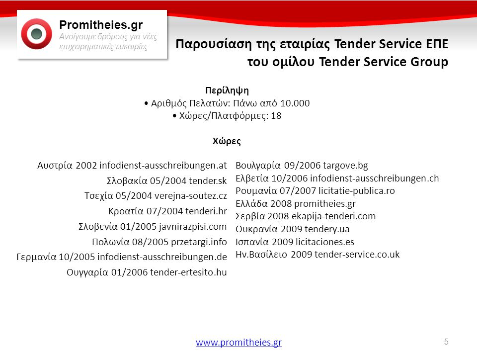 Promitheies.gr Ανοίγουμε δρόμους για νέες επιχειρηματικές ευκαιρίες www.promitheies.gr Η Tender Service στην Ελλάδα • Έναρξη λειτουργίας τον Αύγουστο του 2008 • Καθημερινή καταχώρηση προκηρύξεων • Λειτουργία call center για την εξυπηρέτηση πελατών • Χρήση εφαρμογής Customer Relationship Management • Μεταφορά έδρας το Σεπτέμβριο του 2009 στη Θεσσαλονίκη • Ανακήρυξη του γραφείου ως το πιο επιτυχημένο του Ομίλου για το έτος 2011 Κάντε κλίκ εδώ για δωρεάν δοκιμαστική συνδρομή.