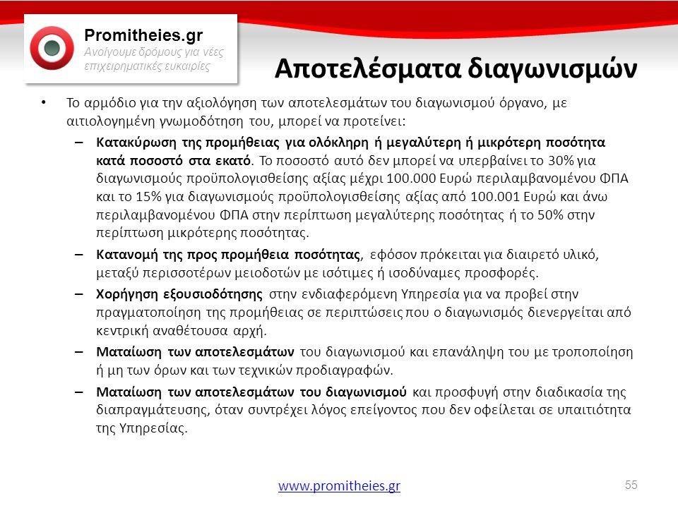 Promitheies.gr Ανοίγουμε δρόμους για νέες επιχειρηματικές ευκαιρίες www.promitheies.gr Αποτελέσματα διαγωνισμών • Το αρμόδιο για την αξιολόγηση των απ