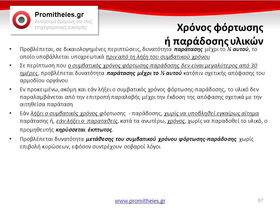Promitheies.gr Ανοίγουμε δρόμους για νέες επιχειρηματικές ευκαιρίες www.promitheies.gr Χρόνος φόρτωσης ή παράδοσης υλικών • Προβλέπεται, σε δικαιολογη