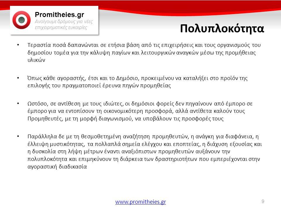 Promitheies.gr Ανοίγουμε δρόμους για νέες επιχειρηματικές ευκαιρίες www.promitheies.gr Κριτήρια Ανάθεσης • Κριτήρια για την πλέον συμφέρουσα προσφορά: – Ομάδα Οικονομικών: Τιμή, κόστος εγκατάστασης, κόστος λειτουργίας και κόστος συντήρησης – Ομάδα Α Τεχνικών Προδιαγραφών και Ποιότητας και Απόδοσης: συμφωνία με τις τεχνικές προδιαγραφές, ποιότητα, αποδοτικότητα, λειτουργικά χαρακτηριστικά, ομογένεια του υλικού με ήδη υπάρχον και κάθε άλλο στοιχείο ανάλογα με την φύση των υλικών ή και των ιδιαίτερων αναγκών του φορέα – Ομάδα Β Τεχνικής Υποστήριξης και Κάλυψης: παρεχόμενη εγγύηση καλής λειτουργίας ή διατήρησης, ποιότητα της εξυπηρέτησης (SERVICE) μετά την πώληση και της τεχνικής βοήθειας εκ μέρους του προμηθευτή, η εξασφάλιση ύπαρξης ανταλλακτικών, ο χρόνος παράδοσης των υλικών, η ιδιαίτερη ικανότητα, πείρα, εκπαίδευση και εξοπλισμός του προμηθευτή και κάθε άλλο στοιχείο ανάλογα με την φύση των υλικών ή και των ιδιαίτερων αναγκών του φορέα 50