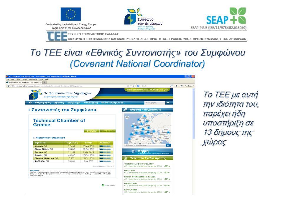 Το ΤΕΕ είναι «Εθνικός Συντονιστής» του Συμφώνου (Covenant National Coordinator) Το ΤΕΕ με αυτή την ιδιότητα του, παρέχει ήδη υποστήριξη σε 13 δήμους τ
