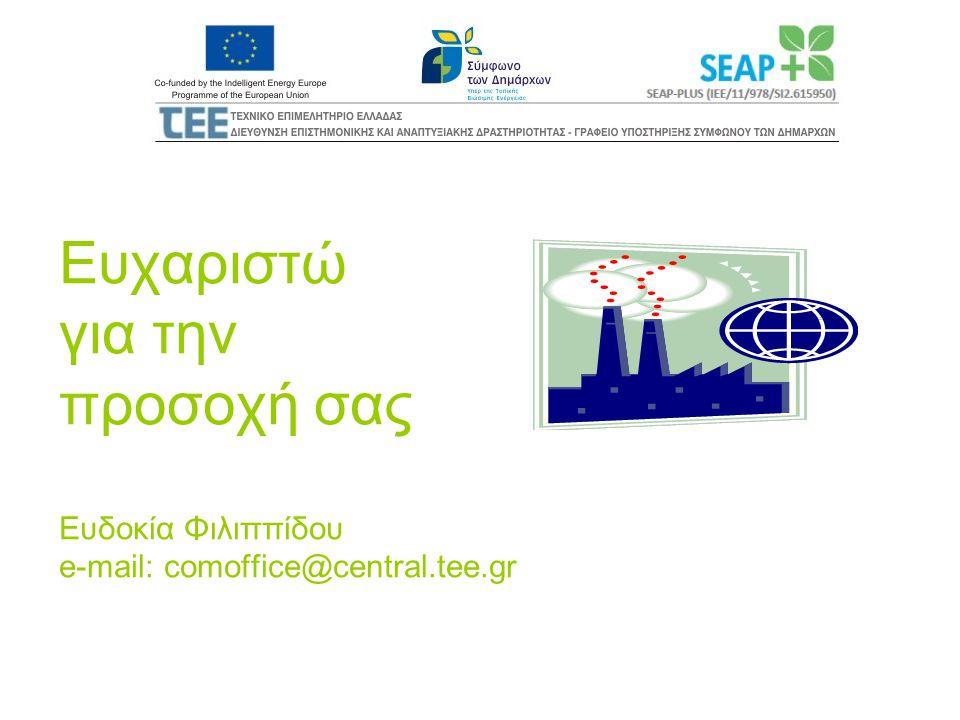 Ευχαριστώ για την προσοχή σας Ευδοκία Φιλιππίδου e-mail: comoffice@central.tee.gr