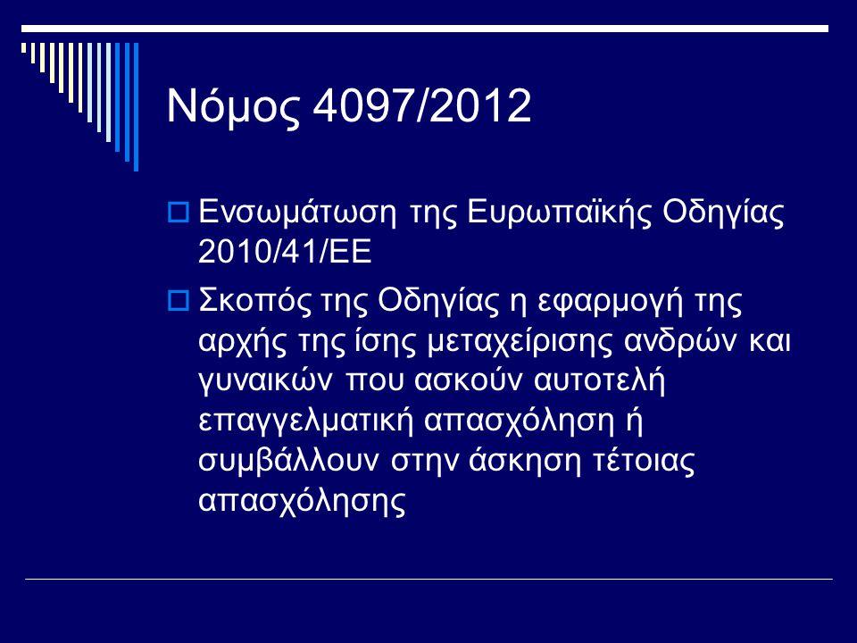 Νόμος 4097/2012  Ενσωμάτωση της Ευρωπαϊκής Οδηγίας 2010/41/ΕΕ  Σκοπός της Οδηγίας η εφαρμογή της αρχής της ίσης μεταχείρισης ανδρών και γυναικών που ασκούν αυτοτελή επαγγελματική απασχόληση ή συμβάλλουν στην άσκηση τέτοιας απασχόλησης