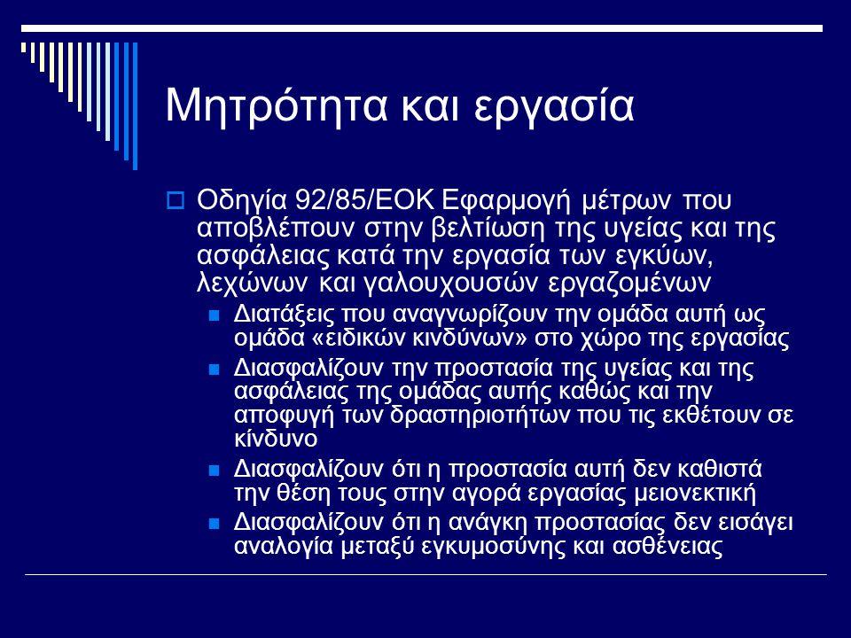 Μητρότητα και εργασία  Οδηγία 92/85/ΕΟΚ Εφαρμογή μέτρων που αποβλέπουν στην βελτίωση της υγείας και της ασφάλειας κατά την εργασία των εγκύων, λεχώνων και γαλουχουσών εργαζομένων  Διατάξεις που αναγνωρίζουν την ομάδα αυτή ως ομάδα «ειδικών κινδύνων» στο χώρο της εργασίας  Διασφαλίζουν την προστασία της υγείας και της ασφάλειας της ομάδας αυτής καθώς και την αποφυγή των δραστηριοτήτων που τις εκθέτουν σε κίνδυνο  Διασφαλίζουν ότι η προστασία αυτή δεν καθιστά την θέση τους στην αγορά εργασίας μειονεκτική  Διασφαλίζουν ότι η ανάγκη προστασίας δεν εισάγει αναλογία μεταξύ εγκυμοσύνης και ασθένειας
