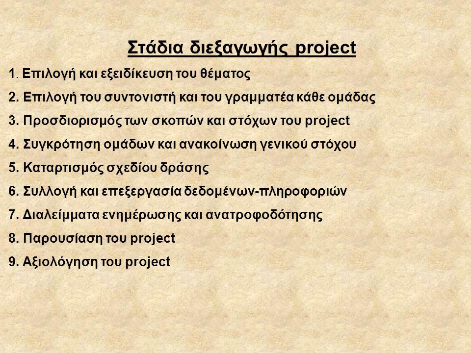 Στάδια διεξαγωγής project 1.Επιλογή και εξειδίκευση του θέματος 2.