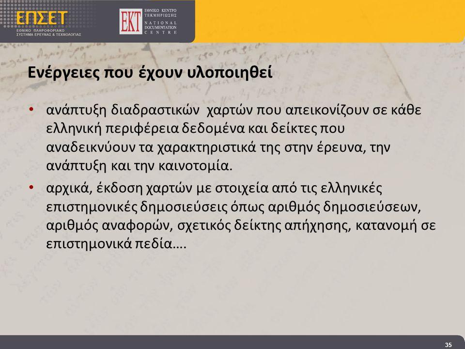 Ενέργειες που έχουν υλοποιηθεί • ανάπτυξη διαδραστικών χαρτών που απεικονίζουν σε κάθε ελληνική περιφέρεια δεδομένα και δείκτες που αναδεικνύουν τα χαρακτηριστικά της στην έρευνα, την ανάπτυξη και την καινοτομία.