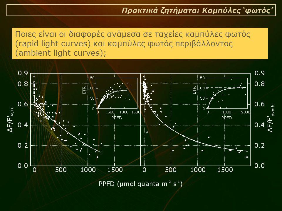 Πρακτικά ζητήματα: Καμπύλες 'φωτός' Ποιες είναι οι διαφορές ανάμεσα σε ταχείες καμπύλες φωτός (rapid light curves) και καμπύλες φωτός περιβάλλοντος (ambient light curves);