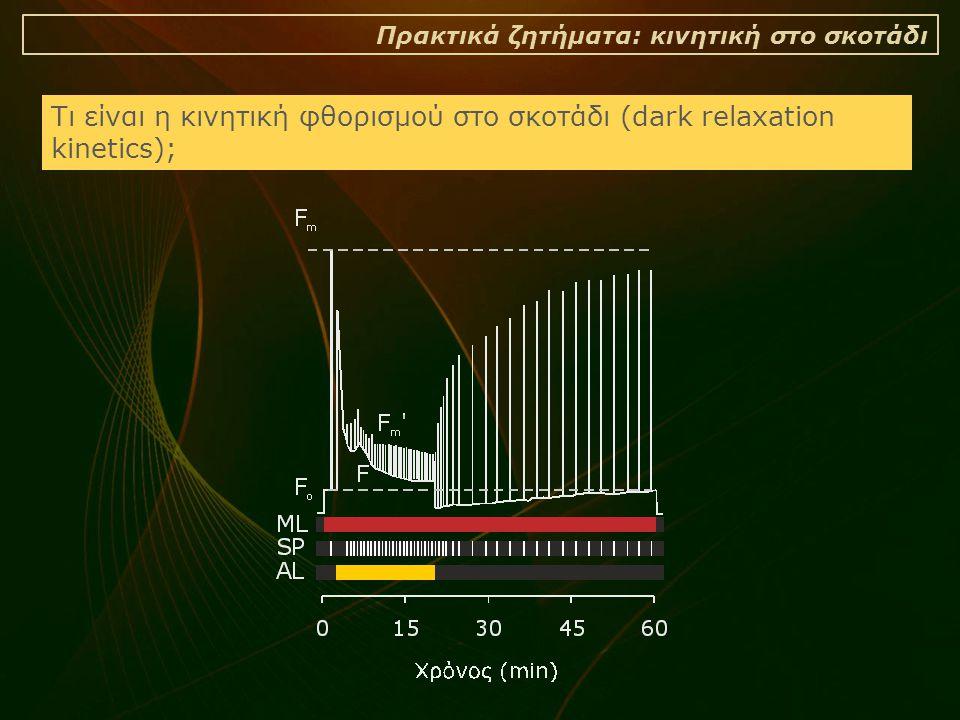 Πρακτικά ζητήματα: κινητική στο σκοτάδι Τι είναι η κινητική φθορισμού στο σκοτάδι (dark relaxation kinetics);