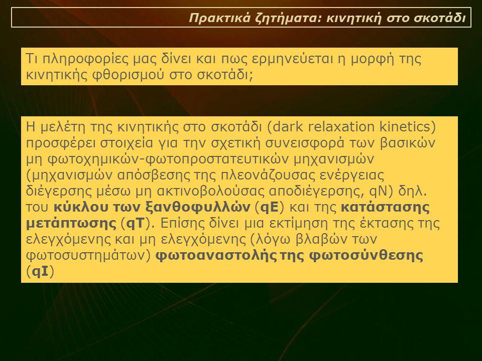 Πρακτικά ζητήματα: κινητική στο σκοτάδι Τι πληροφορίες μας δίνει και πως ερμηνεύεται η μορφή της κινητικής φθορισμού στο σκοτάδι; Η μελέτη της κινητικής στο σκοτάδι (dark relaxation kinetics) προσφέρει στοιχεία για την σχετική συνεισφορά των βασικών μη φωτοχημικών-φωτοπροστατευτικών μηχανισμών (μηχανισμών απόσβεσης της πλεονάζουσας ενέργειας διέγερσης μέσω μη ακτινοβολούσας αποδιέγερσης, qN) δηλ.