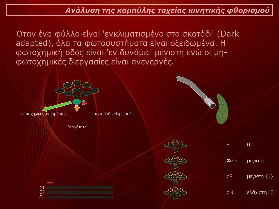 Ανάλυση της καμπύλης ταχείας κινητικής φθορισμού Όταν ένα φύλλο είναι εγκλιματισμένο στο σκοτάδι (Dark adapted), όλα τα φωτοσυστήματα είναι οξειδωμένα.