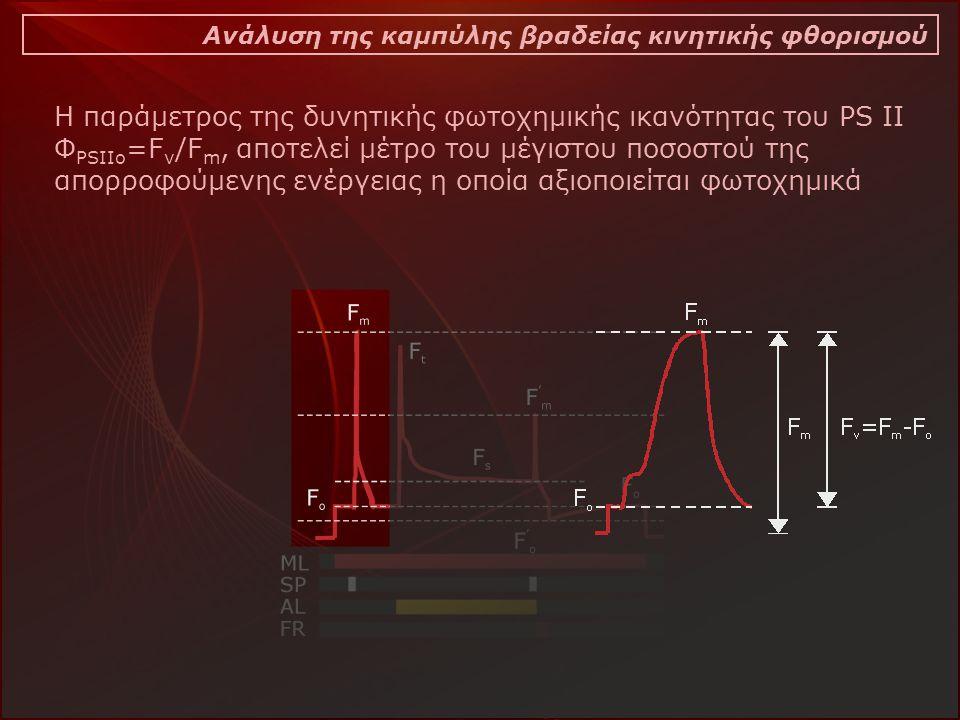 Ανάλυση της καμπύλης βραδείας κινητικής φθορισμού Η παράμετρος της δυνητικής φωτοχημικής ικανότητας του PS II Φ PSIIo =F v /F m, αποτελεί μέτρο του μέγιστου ποσοστού της απορροφούμενης ενέργειας η οποία αξιοποιείται φωτοχημικά