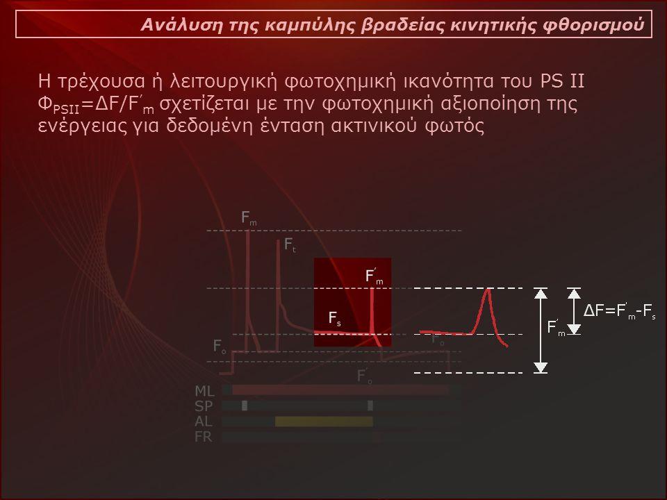 Ανάλυση της καμπύλης βραδείας κινητικής φθορισμού Η τρέχουσα ή λειτουργική φωτοχημική ικανότητα του PS II Φ PSII =ΔF/F ' m σχετίζεται με την φωτοχημική αξιοποίηση της ενέργειας για δεδομένη ένταση ακτινικού φωτός