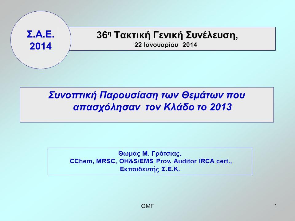 ΘΜΓ1 36 η Τακτική Γενική Συνέλευση, 22 Ιανουαρίου 2014 Συνοπτική Παρουσίαση των Θεμάτων που απασχόλησαν τον Κλάδο το 2013 Σ.Α.Ε.