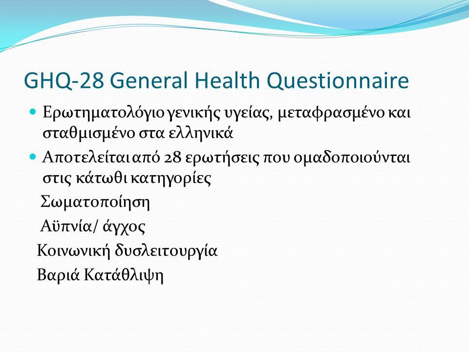 GHQ-28 General Health Questionnaire  Ερωτηματολόγιο γενικής υγείας, μεταφρασμένο και σταθμισμένο στα ελληνικά  Αποτελείται από 28 ερωτήσεις που ομαδοποιούνται στις κάτωθι κατηγορίες Σωματοποίηση Αϋπνία/ άγχος Κοινωνική δυσλειτουργία Βαριά Κατάθλιψη