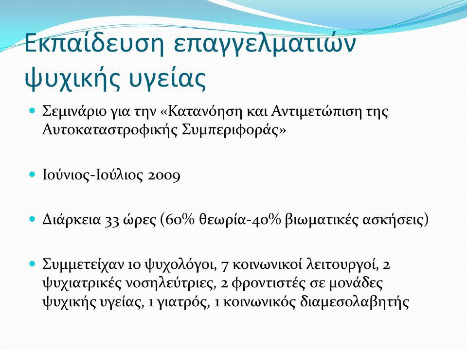 Εκπαίδευση επαγγελματιών ψυχικής υγείας  Σεμινάριο για την «Κατανόηση και Αντιμετώπιση της Αυτοκαταστροφικής Συμπεριφοράς»  Ιούνιος-Ιούλιος 2009  Διάρκεια 33 ώρες (60% θεωρία-40% βιωματικές ασκήσεις)  Συμμετείχαν 10 ψυχολόγοι, 7 κοινωνικοί λειτουργοί, 2 ψυχιατρικές νοσηλεύτριες, 2 φροντιστές σε μονάδες ψυχικής υγείας, 1 γιατρός, 1 κοινωνικός διαμεσολαβητής