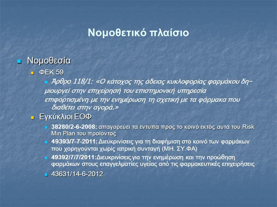 Νομοθετικό πλαίσιο  Νομοθεσία  ΦΕΚ 59   Άρθρο 118/1: « Ο κάτοχος της άδειας κυκλοφορίας φαρμάκου δη− μιουργεί στην επιχείρησή του επιστημονική υπηρεσία επιφορτισμένη με την ενημέρωση τη σχετική με τα φάρμακα που διαθέτει στην αγορά.»  Εγκύκλιοι ΕΟΦ  απαγορεύει τα έντυπα προς το κοινό εκτός αυτά του Risk Min Plan του προϊόντος  38280/2-6-2008: απαγορεύει τα έντυπα προς το κοινό εκτός αυτά του Risk Min Plan του προϊόντος   49393/7-7-201 1: Διευκρινίσεις για τη διαφήμιση στο κοινό των φαρμάκων που χορηγούνται χωρίς ιατρική συνταγή (ΜΗ.