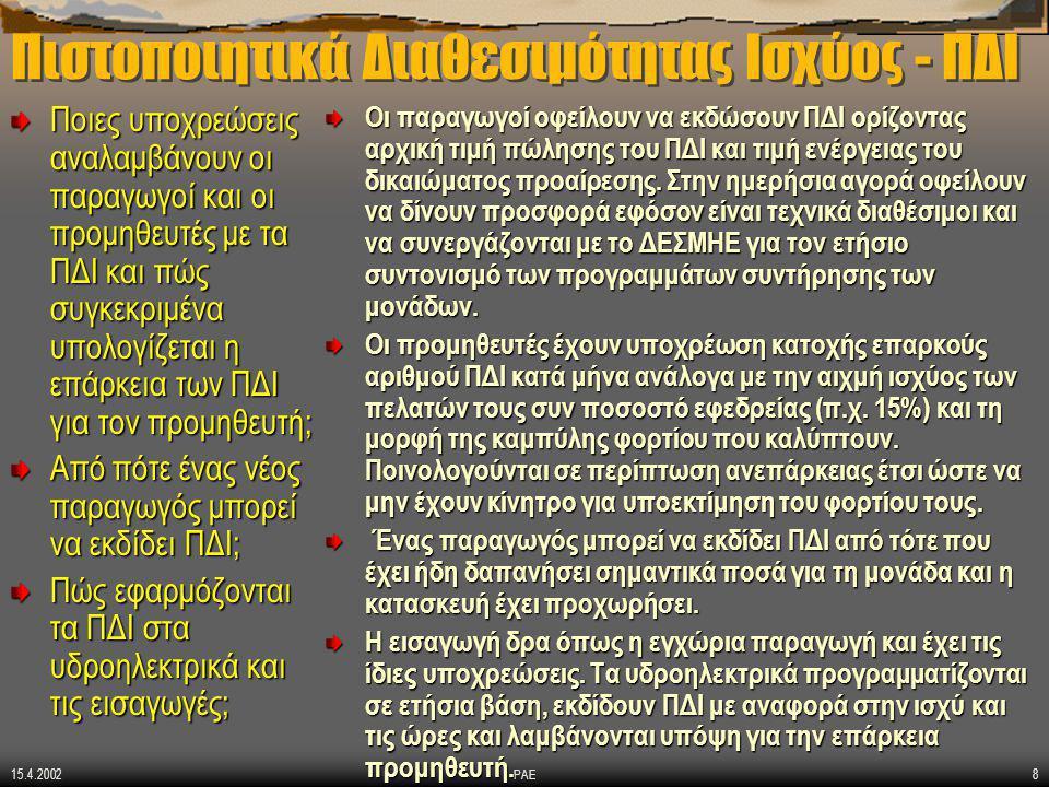 15.4.2002 ΡΑΕ8 Πιστοποιητικά Διαθεσιμότητας Ισχύος - ΠΔΙ Ποιες υποχρεώσεις αναλαμβάνουν οι παραγωγοί και οι προμηθευτές με τα ΠΔΙ και πώς συγκεκριμένα υπολογίζεται η επάρκεια των ΠΔΙ για τον προμηθευτή; Από πότε ένας νέος παραγωγός μπορεί να εκδίδει ΠΔΙ; Πώς εφαρμόζονται τα ΠΔΙ στα υδροηλεκτρικά και τις εισαγωγές; Οι παραγωγοί οφείλουν να εκδώσουν ΠΔΙ ορίζοντας αρχική τιμή πώλησης του ΠΔΙ και τιμή ενέργειας του δικαιώματος προαίρεσης.