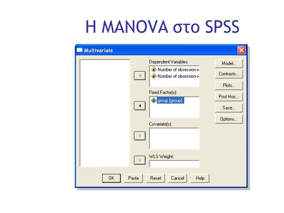 Slide 22 Η MANOVA στο SPSS