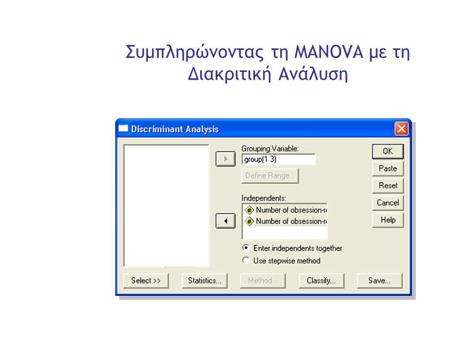 Slide 28 Συμπληρώνοντας τη MANOVA με τη Διακριτική Ανάλυση