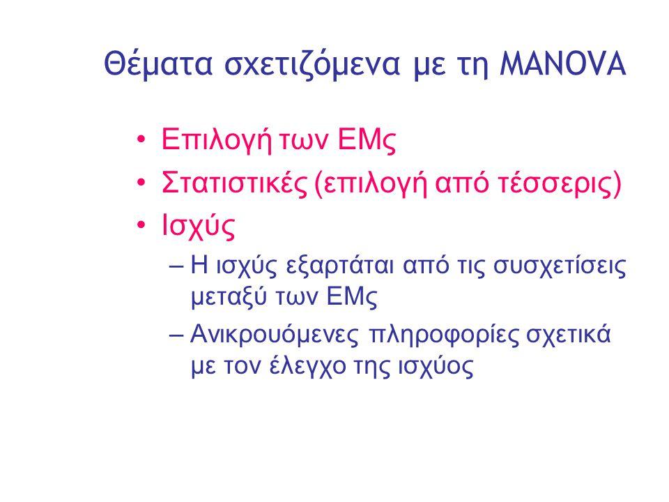 Slide 5 Θέματα σχετιζόμενα με τη MANOVA •Επιλογή των ΕΜς •Στατιστικές (επιλογή από τέσσερις) •Ισχύς –Η ισχύς εξαρτάται από τις συσχετίσεις μεταξύ των ΕΜς –Ανικρουόμενες πληροφορίες σχετικά με τον έλεγχο της ισχύος