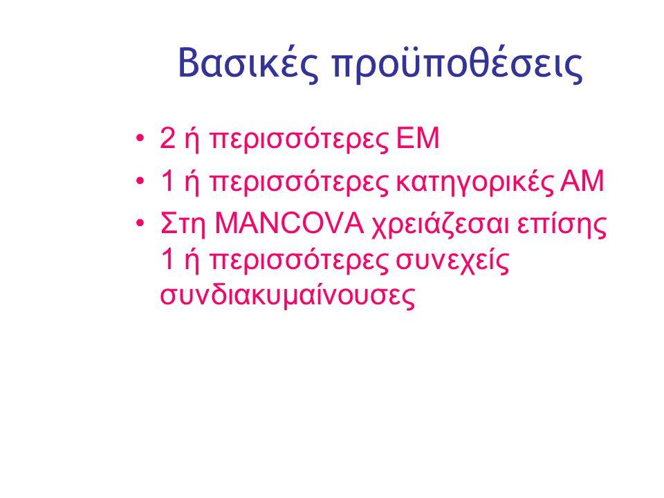 Slide 6 Βασικές προϋποθέσεις •2 ή περισσότερες ΕΜ •1 ή περισσότερες κατηγορικές ΑΜ •Στη MANCOVA χρειάζεσαι επίσης 1 ή περισσότερες συνεχείς συνδιακυμαίνουσες